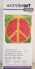 New listing Wonderart Latch Hook 12x12 Peace Sign - Pink/Green/Yellow - New - Tool not incl.