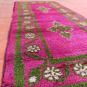 Vintage Handmade Moroccan Oriental Area Wool Rug Tribal Floral Berber Azilal