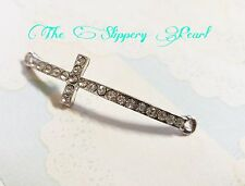 Cross Connector Rhinestone Cross Pendant Sideways Cross Link Large Cross Pendant
