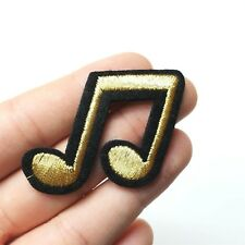 Double Musical Beam Note Patch, Iron-On/Sew-On Embroidered Motif, Black & Gold