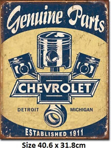 Chevrolet Parts/Pistons Rustic Metal Tin Sign 1722  Licensed - Made in USA