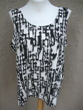 New $59 Chico's Travelers Black White Silver Broken Maze Tank Top 3 XL 16 18 NWT