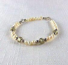 Freshwater Pearl , Smoky Murano Glass 925 Sterling Silver Bracelet
