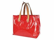 Authentic LOUIS VUITTON Reade PM Red Vernis Leather Tote Hand Bag Purse #24606