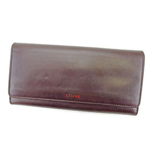Celine Wallet Purse Long Wallet Logo Brown Red Woman unisex Authentic Used T4443