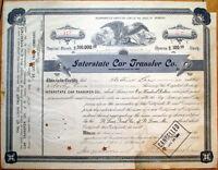 1901 Railroad Stock Certificate: Interstate Car Transfer Company - St. Louis, MO