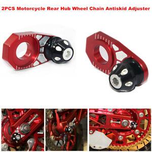 2PCS Motorcycle Bikes Rear Hub Wheel Chain Adjuster Parking Automatic Regulator