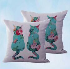 US Seller-set of 2 shabby chic retro love cats couple cushion cover cheap pillow
