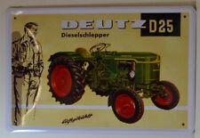DEUTZ D 25 - Tracteur - Dieselschlepper - Panneau métallique 30 x 20 cm (BS559)