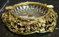 "Vintage Matson Ultra Gold & Glass Rose Gold Ash Tray K843G 1"" x 5.13"" Excellent"