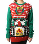 Ugly Christmas Sweater Plus Size Women's Fireplace Pullover Sweater-Small