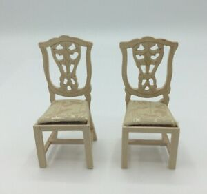 Pair Of Dolls House Bare Wood Dining Chairs