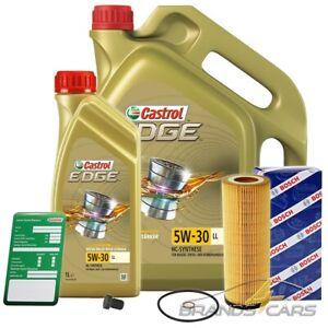 BOSCH ÖLFILTER + 6 L CASTROL EDGE FLUID 5W-30 LL AUDI A6 4B C5 2.5 TDI BJ 97-05