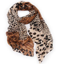 Women Leopard Long Soft Chiffon Cotton Scarf Wrap Lady Shawl Girl Stole Scarves