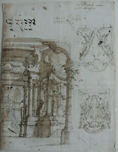 ITALIAN 18TH CENTURY ARCHITECTURAL INK STUDIES IN CLASSICAL OLD MASTER STYLE