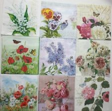 Set of 9 Paper Cocktail Napkins for Decoupage and Paper Crafts Flowers Floral