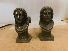 Antique Vintage Brass Figural Male Bust Fireplace Andirons