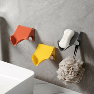 Wall Mounted Plastic Soap Dish Holder Draining Tray Storage Bathroom Container