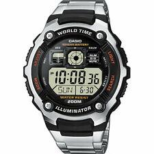 Casio reloj hombre | cuarzo digital | mundo tiempo | parada | alarma | LED Light | ae-2000