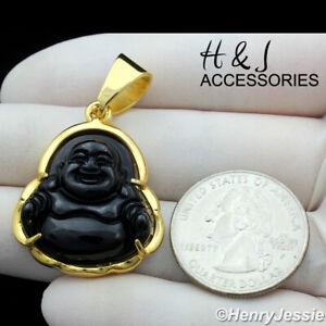 MEN WOMEN Stainless Steel Black Onyx Gold Buddha Charm Pendant*AGP123