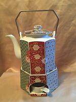 Arita Imari Fan FINE CHINA Teapot, Lid, Stand and Warmer