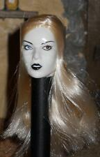 "1/6 Scale 12"" BBI Blond Haired Head Gothic White face for Custom Harley Quinn"