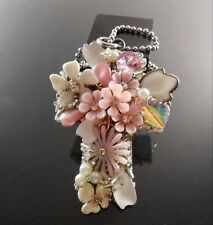 Necklace Rhinestone Enamel Pearl Floral Chunky Beaded Cross Handmade Statement