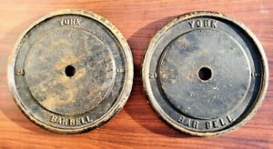 Pair Vintage York Barbell 25 Pound Standard Weight Plates