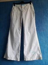 O'Neill Ladies White Wide Leg Cotton Blend Trousers Size 28 Waist
