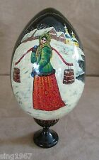 Russian Handpainted signed Egg & stand Signed Cyrillic Village Girl water russia