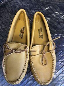Minnetonka Men's Natural Double Deerskin Softsole Moccasin Size 11