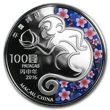 2016 Macau 5 oz Silver Year of the Monkey Proof (Colorized) - SKU #93075