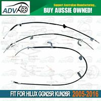 3pce Front + Rear LH+RH Hand Brake Cable Set Hilux GGN25R KUN26R 2005~2016 4X4