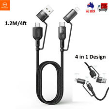 for iPhone 11 12 Samsung S21 4 in 1 USB to Type C Charging Cable Sync Data Cord