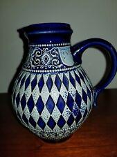 Marzi & Remy Stoneware 1/2 Liter Wine Pitcher Cobalt Art Pottery