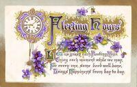 BB London~Fleeting Hours~Violets Under Clock~Gold Leaf Embossed~1912 Postcard