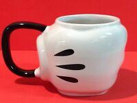 Disney Mickey Mouse Glove Hand Mug, Sculptured Ceramic White Black Cup Mug