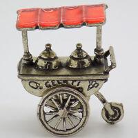 Vintage Plata Maciza Italiano Hecho Casa de Muñecas Helado Cart Figura Contraste