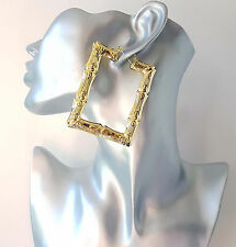 Gorgeous! BIG! gold tone bamboo style rectangle - square creole hoop earrings
