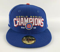 Chicago Cubs 2016 World Champions Baseball Hat New Era 59Fifty Blue - Size 7 3/8