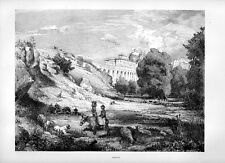 Stampa antica ARICCIA veduta panoramica campagna di Roma 1877 Old print Rome