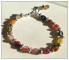 Watermelon Tourmaline Bracelet, Genuine Gemstones, Adjustable length