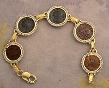 Ancient Roman Five Coin Bracelet Constantine I & Sons in 14kt Solid Gold & S/S