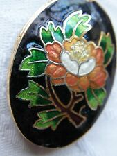 Black Oval Cloisonne Bead, Peach/White Peony design, 40 x 27mm. Jewellery Making