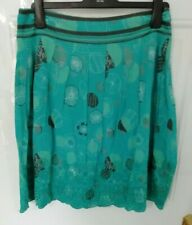 ❤ MANTARAY Size 12 Turquoise Blue Grey Floral Pleat Skirt Embroidery Anglaise