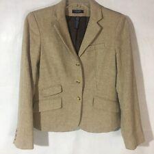 Ralph Lauren Chaps Women's Tan Tweed Herringbone Blazer Jacket Sz 10