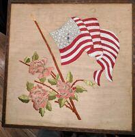 RARE 34 STAR AMERICAN FLAG NEEDLEPOINT SAMPLER CIVIL WAR ABRAHAM LINCOLN 1861-63