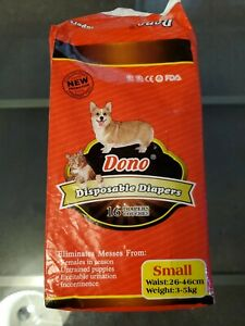 DONO Disposable Dog Diapers 16-Pack (Small, Female) - NEW