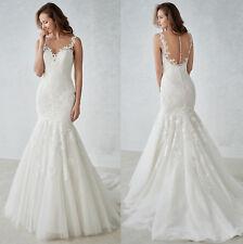 Elegant Lace Appliques Mermaid Wedding Dresses Long Bridal Gown Custom Size
