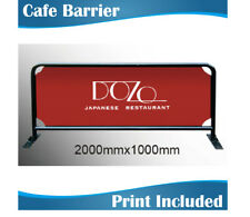 2m wide Black Round Tube Cafe Barrier Coffee Barrier with double sided Graphics